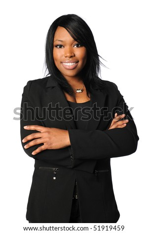 African American businesswoman with arms crossed isolated over white background
