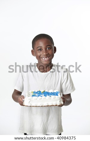 african american child holding birthday cake with white background