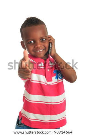 African American child with black telephone isolated metisse hair curly