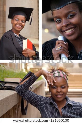 African American college student collage graduating with mortarboard and diploma or scroll