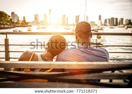African american couple enjoying sunset