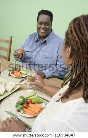African American couple having healthy meal together