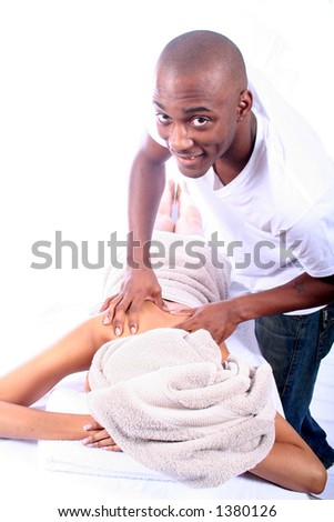 African American Couple - Massage - Relaxing
