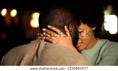 African american couple nuzzling, intimate date, sexual desire, seducing girl #1250885977