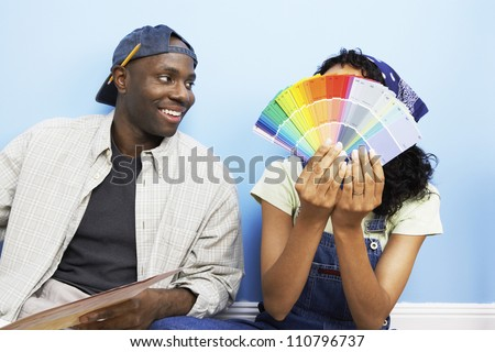 African American couple with color samples