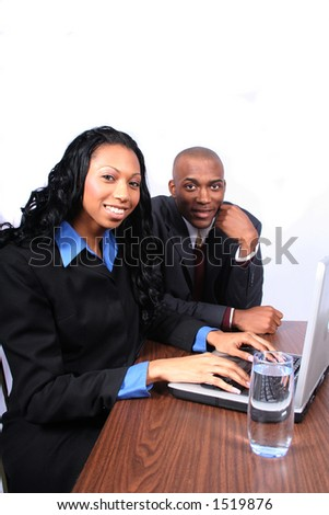 African American Couple with Computer