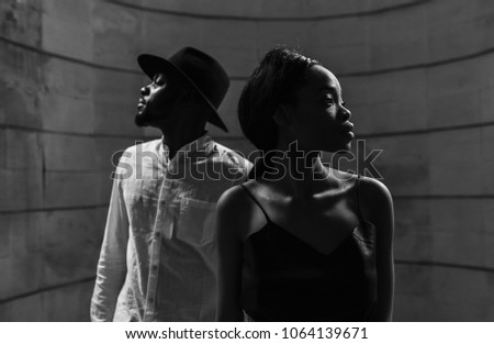 African American couple. Young fashionable people, stylish concept
