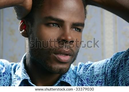 African american cute black young man closeup portrait