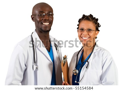 african american doctor and nurse isolated on white - stock photo