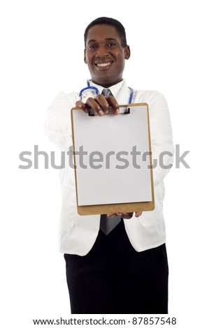 African American doctor holding a clipboard isolated over white background