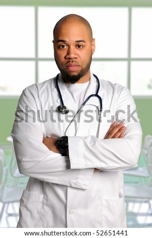 African American doctor with arms crossed