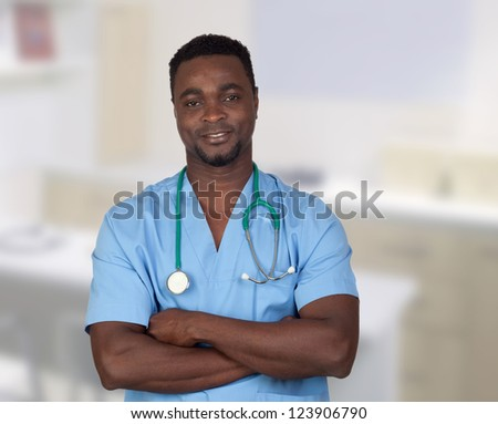 African american doctor with blue uniform in the hospital