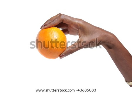 African American Elegant female hand holding a orange over white background