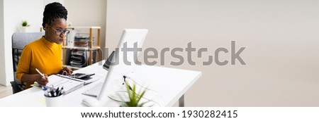 African American Executive Manager Accountant Using Computer