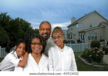 African American family in their backyard - stock photo