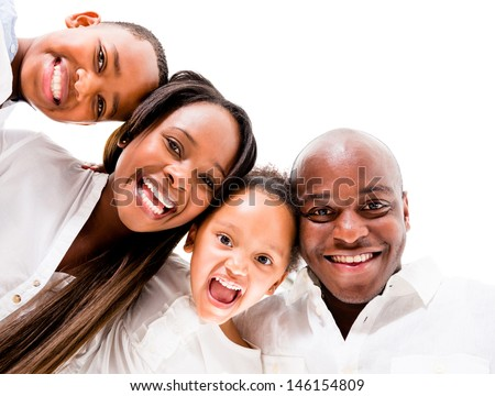 African American family looking very happy - isolated over white background