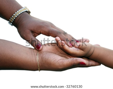 African-American family: Mother is holding child hand