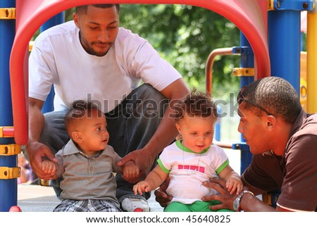 African American Family Playing