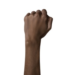 African american female black hand fist gesture black power sign racism isolated on white background