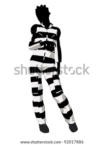 African american female criminal on a white background
