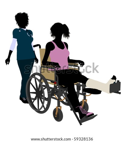 African american female doctor with injured female athlete silhouette on a white background