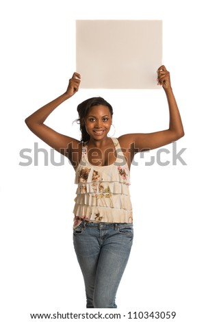 African American Female Holding Blank Board on Isolated White Background