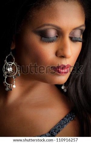African American Female Model Portrait Low Key Eyes Closed