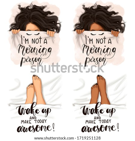 African American Girls I'm Not A Morning Person Set Wake Up And Today Awesome Isolated On A White Background Hand Drawn Legs Illustration Stock fotó ©