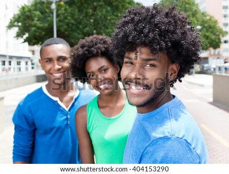 african american guy with two...