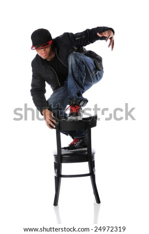 African American hip hop dancer on chair
