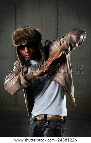 African American hip hop dancer performing