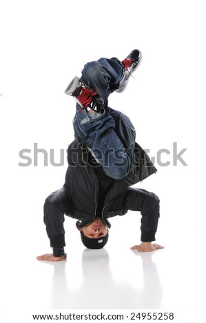 African American hip hop dancer performing headstand