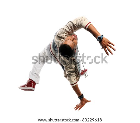 African American hip hop dancer performing isolated over white background