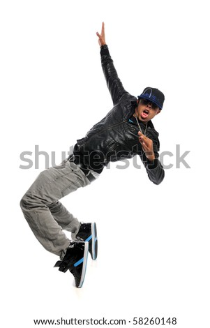 African American hip hop dancer performing move isolated over white background