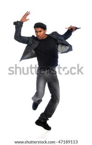 African American hip hop dancer performing over white background