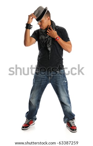 African American hip hop dancer standing isolated over white background