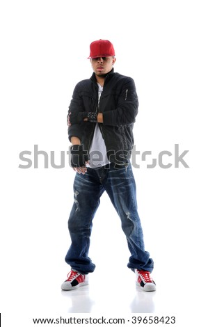 African American hip hop dancer standing over white background