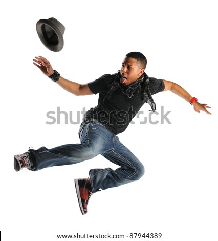 African American hip hop man dancing isolated over white background
