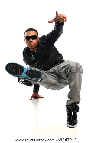 African American hip hop man performing isolated over white background