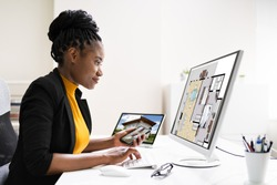 African American Home Assessor Woman Using Computer