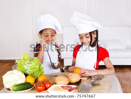 African american kids cooking