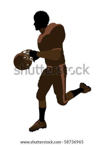 African american male football player with his helmet art illustration silhouette on a white background
