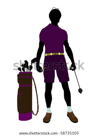 African american male golf player art illustration silhouette on a white background