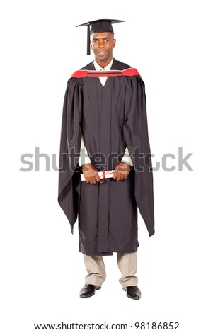 african american male graduate full length on white background