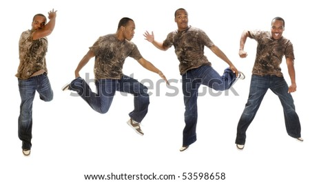 African american man break-dancing in several poses over a white background