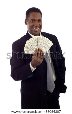 African American man holding lots of money smiling isolated white background