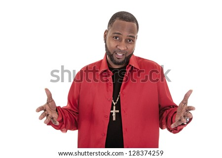 African American man holding up hand in a questioning way on white background