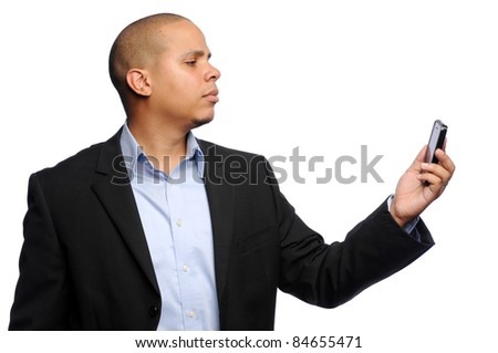 African American Man looking at Cell Phone