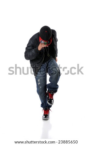 African American man performing hip hop style dancing