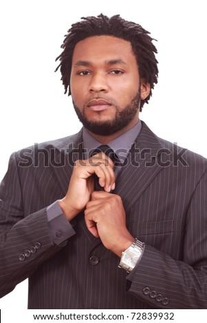 African-American man preparing for presentation